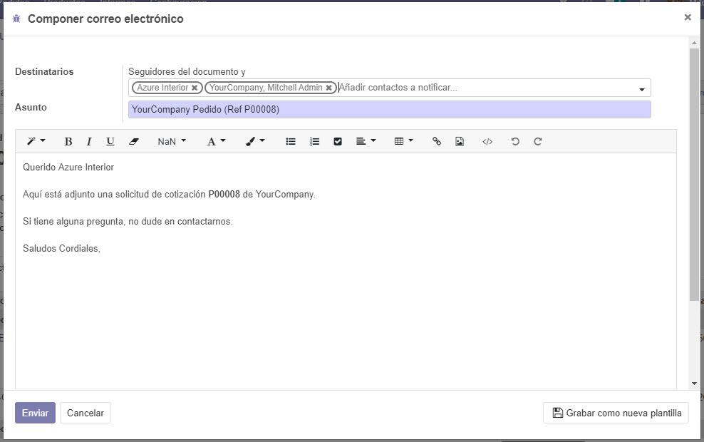 componer correo electrónico compras odoo