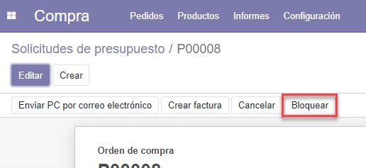 botón bloquear solicitud de presupuesto en módulo de compras odoo
