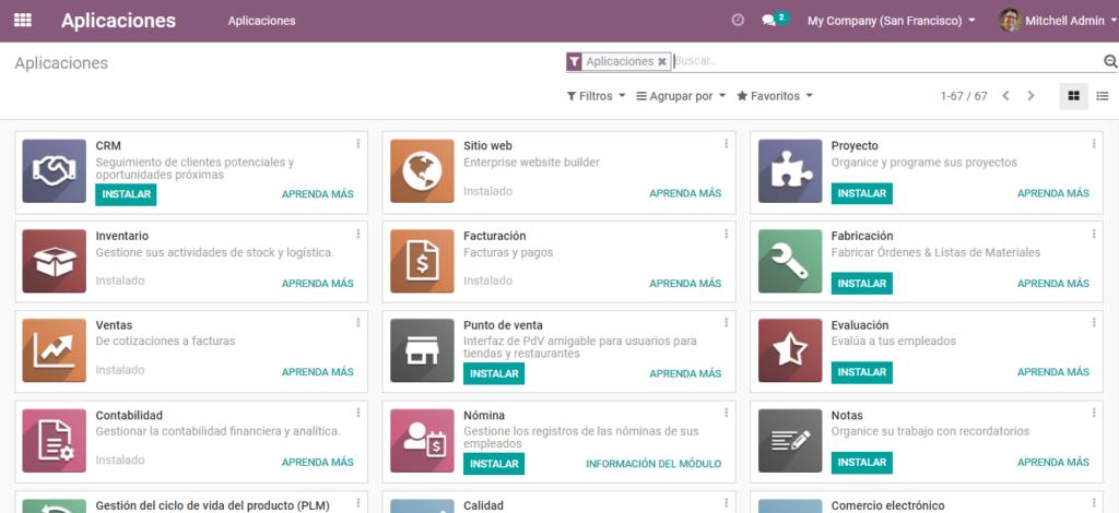Aquí se encuentran todas las Odoo apps disponibles para instalar.