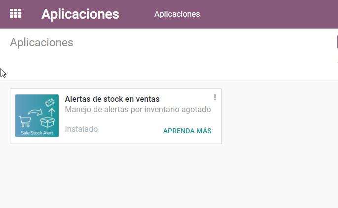 Aplicación Odoo, App Odoo, Alertas stock, Esta aplicación envía una alerta vía email notificando la existencia de un producto sin stock.