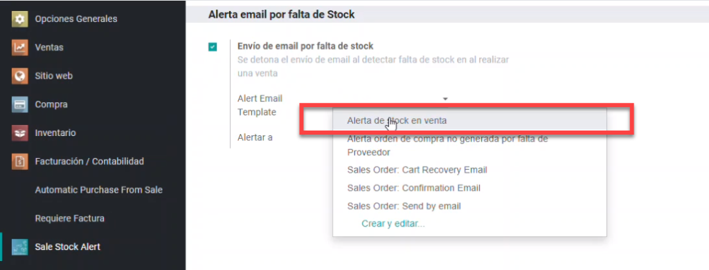 ajuste sale stock alert odoo, alert email template odoo