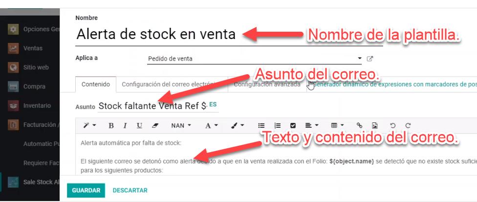 email template alert stock, ajuste sale stock alert odoo