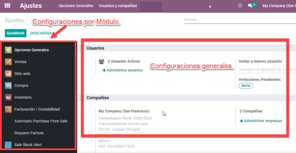 configuración módulos odoo, ajustes aplicaciones odoo,