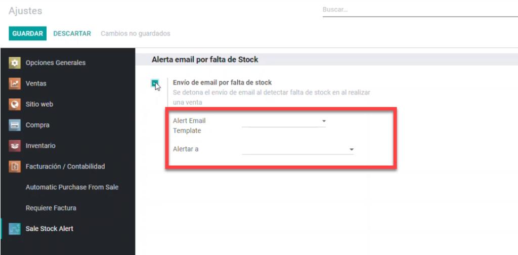 alert email template odoo, ajuste sale stock alert odoo