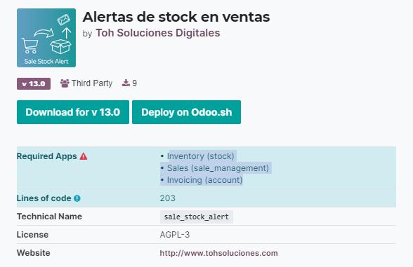 Alertas de stock en ventas odoo, Alertas inventario odoo, Sale stock alert, app odoo